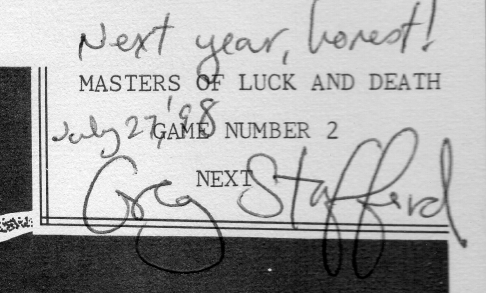 Advert for Masters of Luck and Death in the White Bear and Red Moon rules booklet from the 1970ie, confirmed by Greg